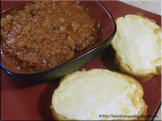 chili from the freezer served with cheesy garlic bread