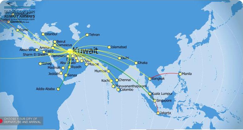 Kuwait Airways routes map | Design Plane