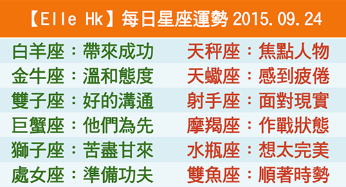 【Elle Hk】每日星座運勢2015.09.24