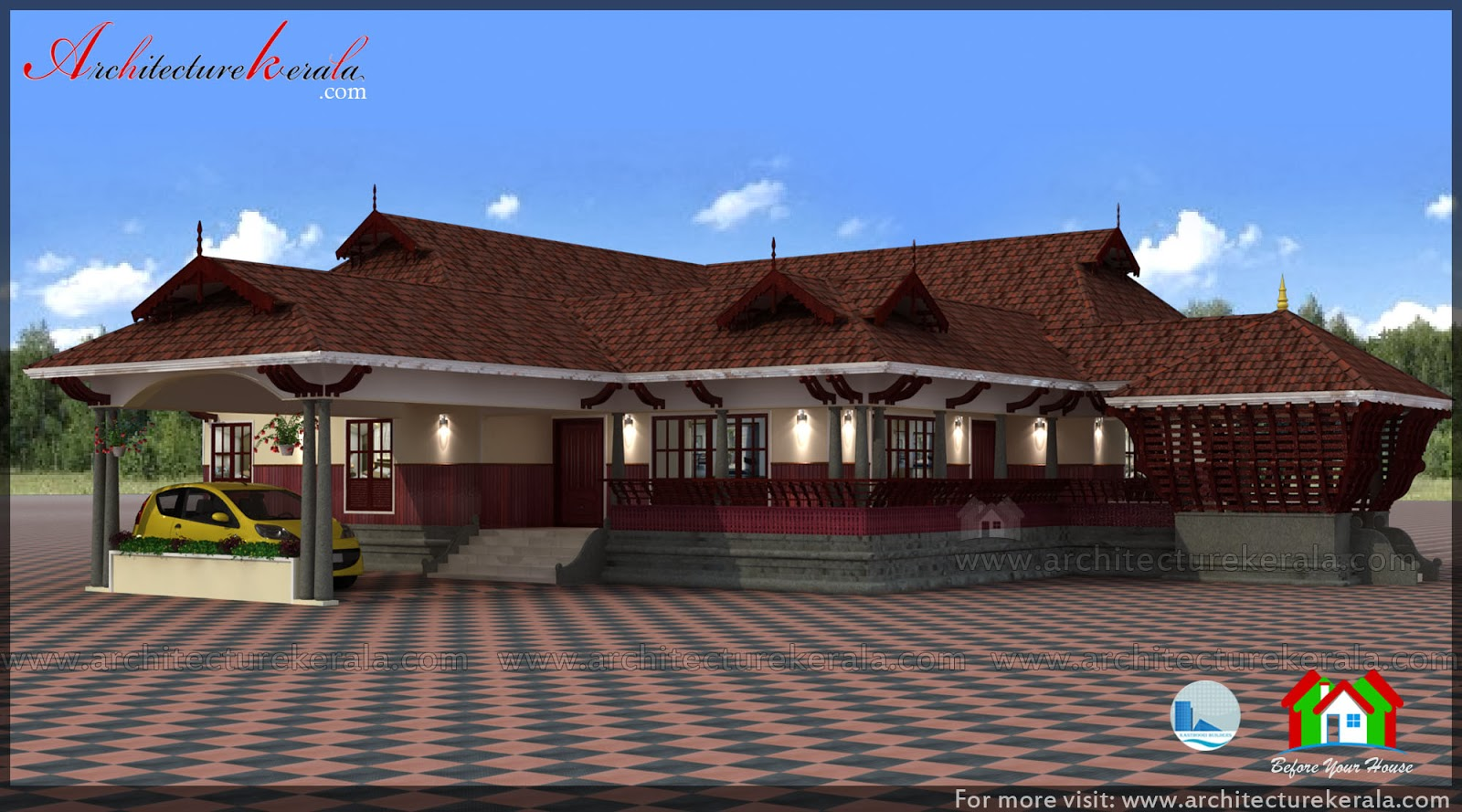 Traditional house plan with nadumuttam and poomukham for Traditional house plans kerala style