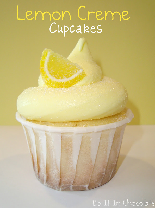 Lemon Creme {Cheese} Cupcakes ~ Dip it in Chocolate