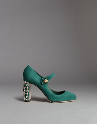 green suede block heel mary janes with embellishment