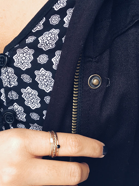 dainty rings, simple rings, dainty jewelry, patterned romper, winter ootd, winter outfits