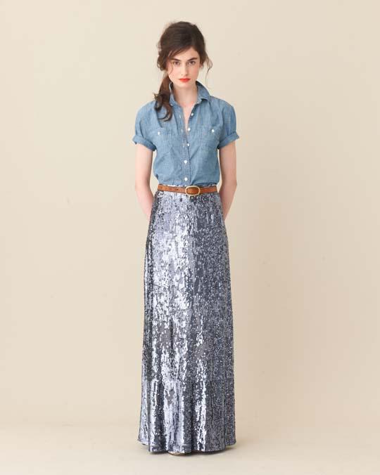 . Long skirts and chambray shirts