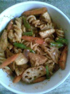 tofu and veggies in a hot peanut sauce