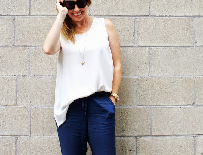 anne fontaine tank, abercrombie drapey olivia pants