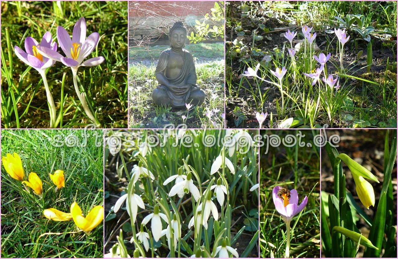 Frühlingsblumen um Buddha-Statue