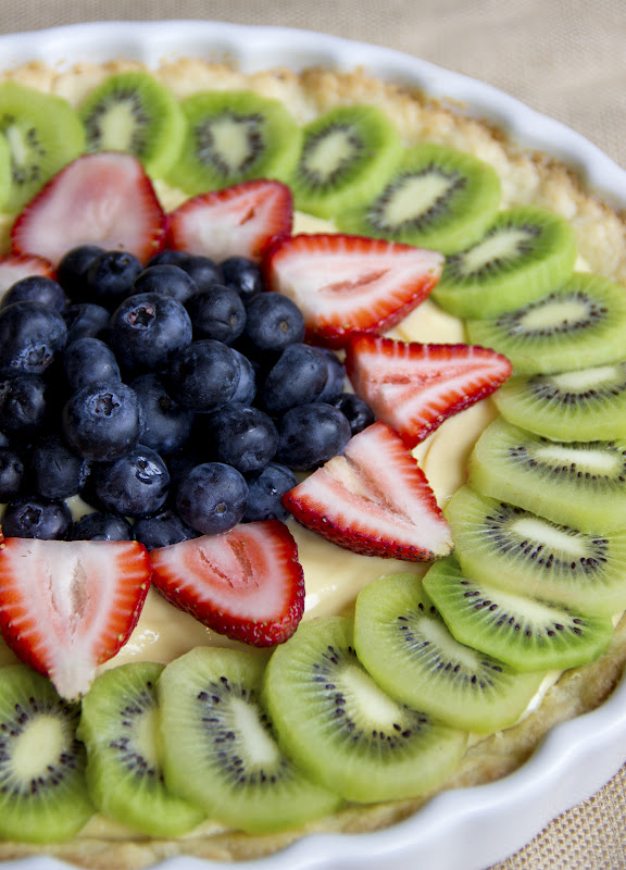 Healthy Fresh Fruit Tart with Vanilla Pastry Cream - Natural Sweet ...