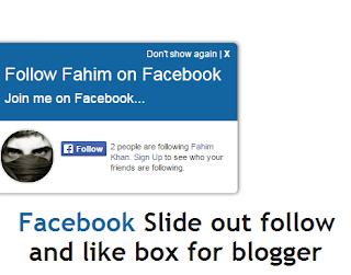 facebook slide out gadget for blogger