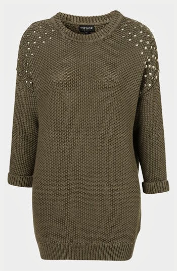 Studded Shoulder Tunic Sweater