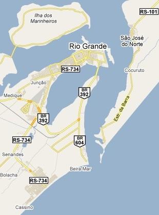Map: Rio Grande, Brazil.