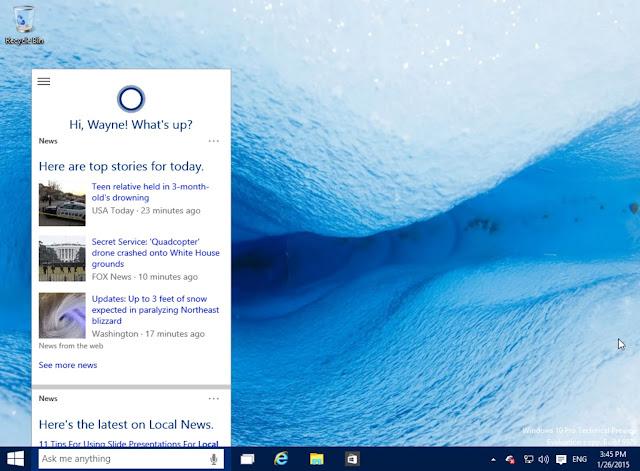 Tampilan Cortana