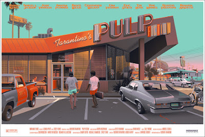 MondoCon 2015 Exclusive Pulp Fiction Variant Screen Print by Laurent Durieux signed by Quentin Tarantino, Samuel L. Jackson & Tim Roth