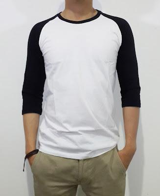 Model baju Kaos Raglan Hitam Putih Murah