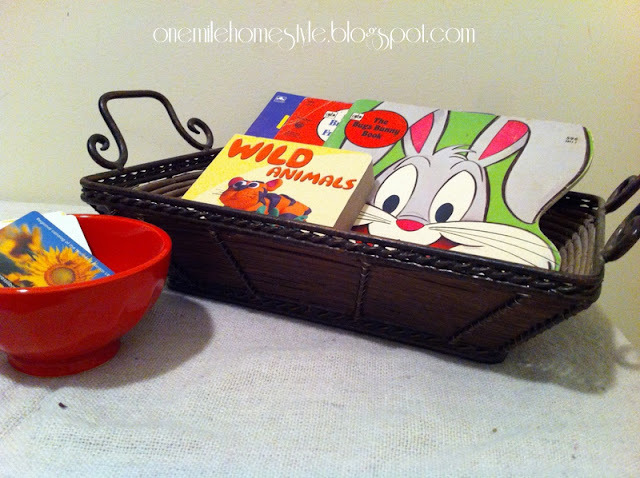 Basket for library books and bowl for library cards