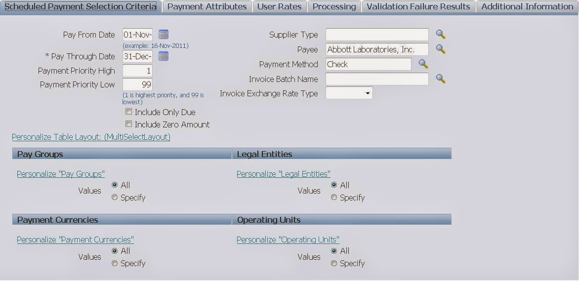 Steps to Pay Invoices using Payment Batch : Oracle EBS R12