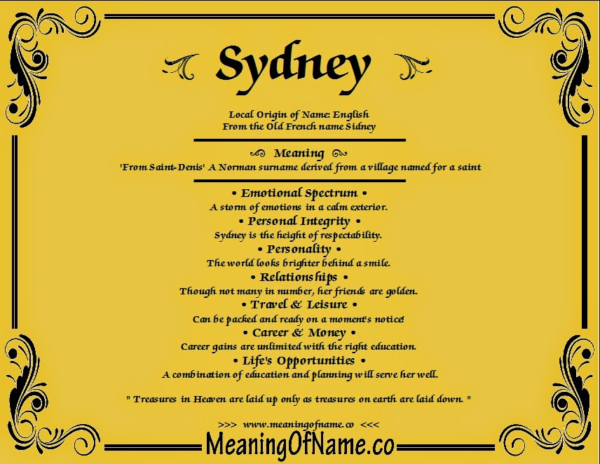 sydney name meaning - photo#2