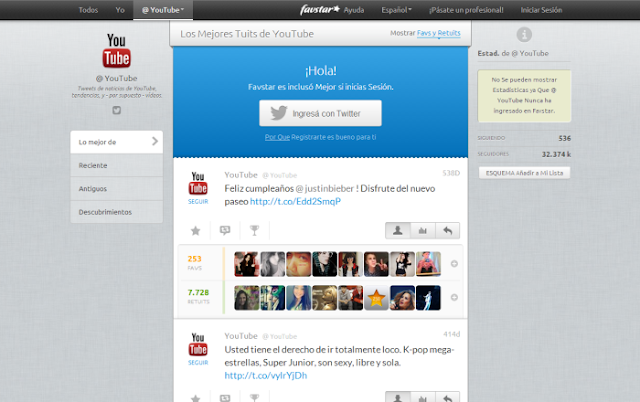 Favstar (Ver los tweets más guardados como favoritos en total y de cualquier cuenta de Twitter)