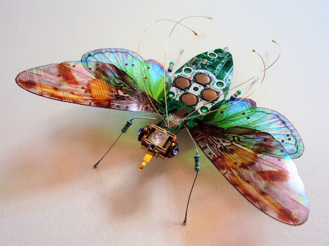 beautiful insect from recycled circuit boards
