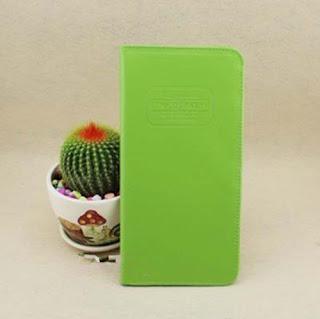 The journey Long Passport Cover Case Green Wallet Pocket Holder Keeper Bag E