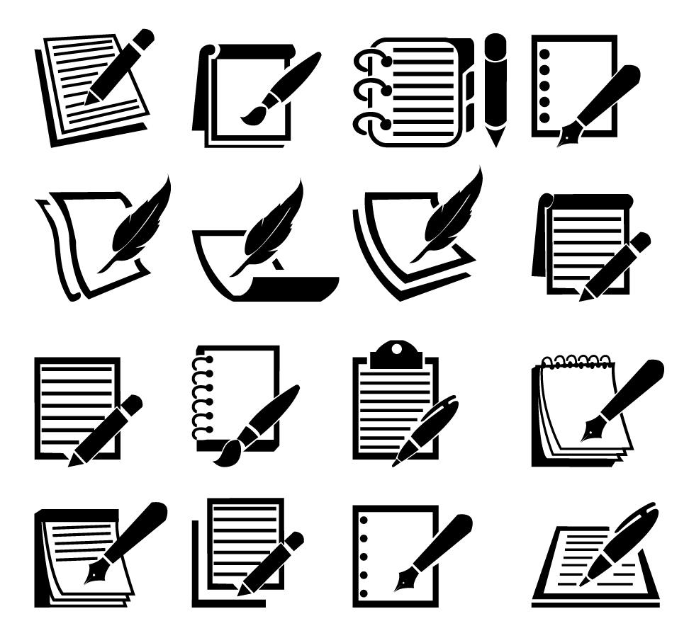 メモ用紙のシルエット アイコン Notebook and Pen icon set イラスト素材