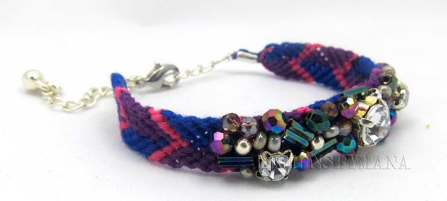 purple/crystal beaded friendship bracelet