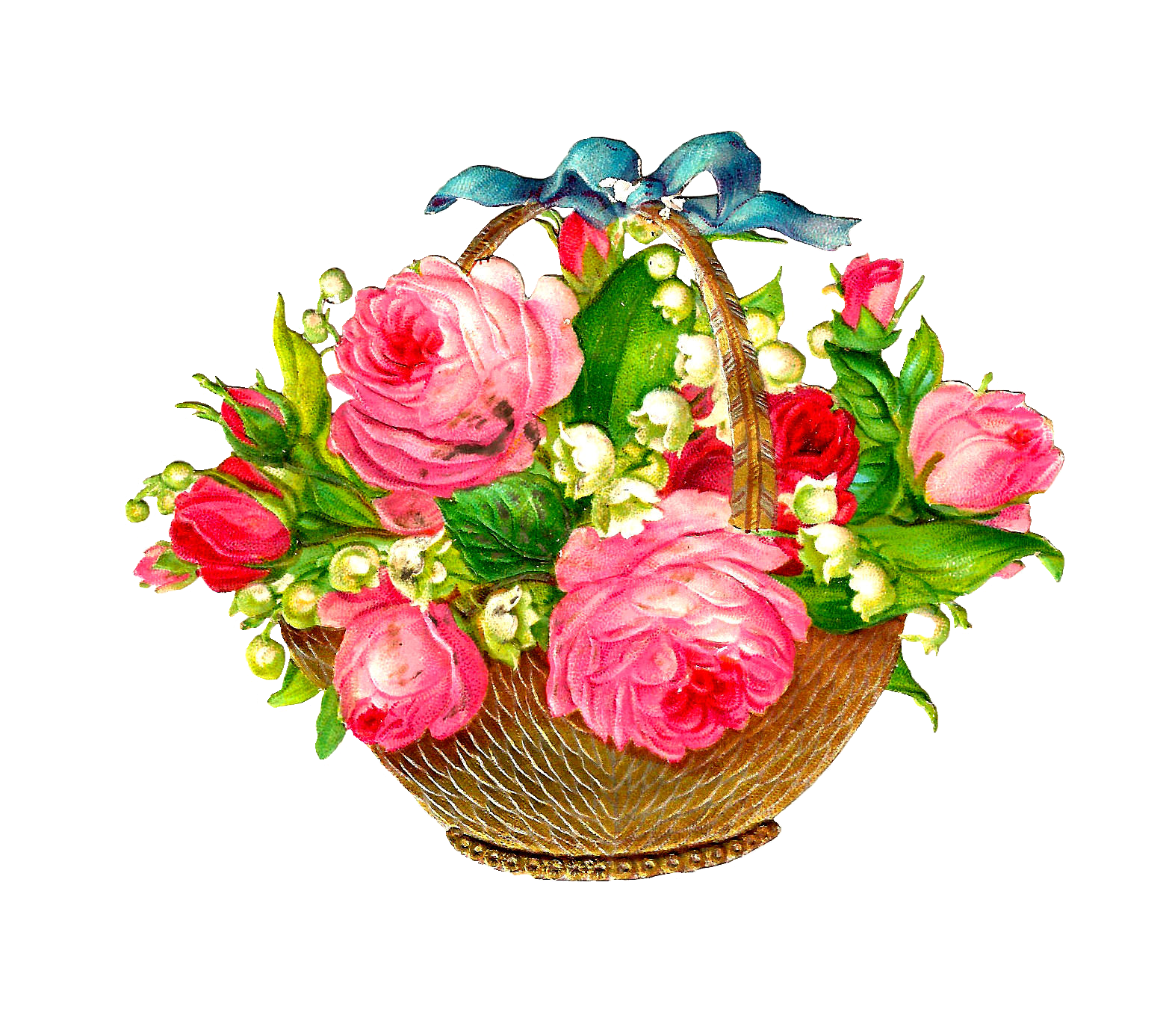 Images Of Flower Baskets : Antique images free flower basket graphic pink roses and