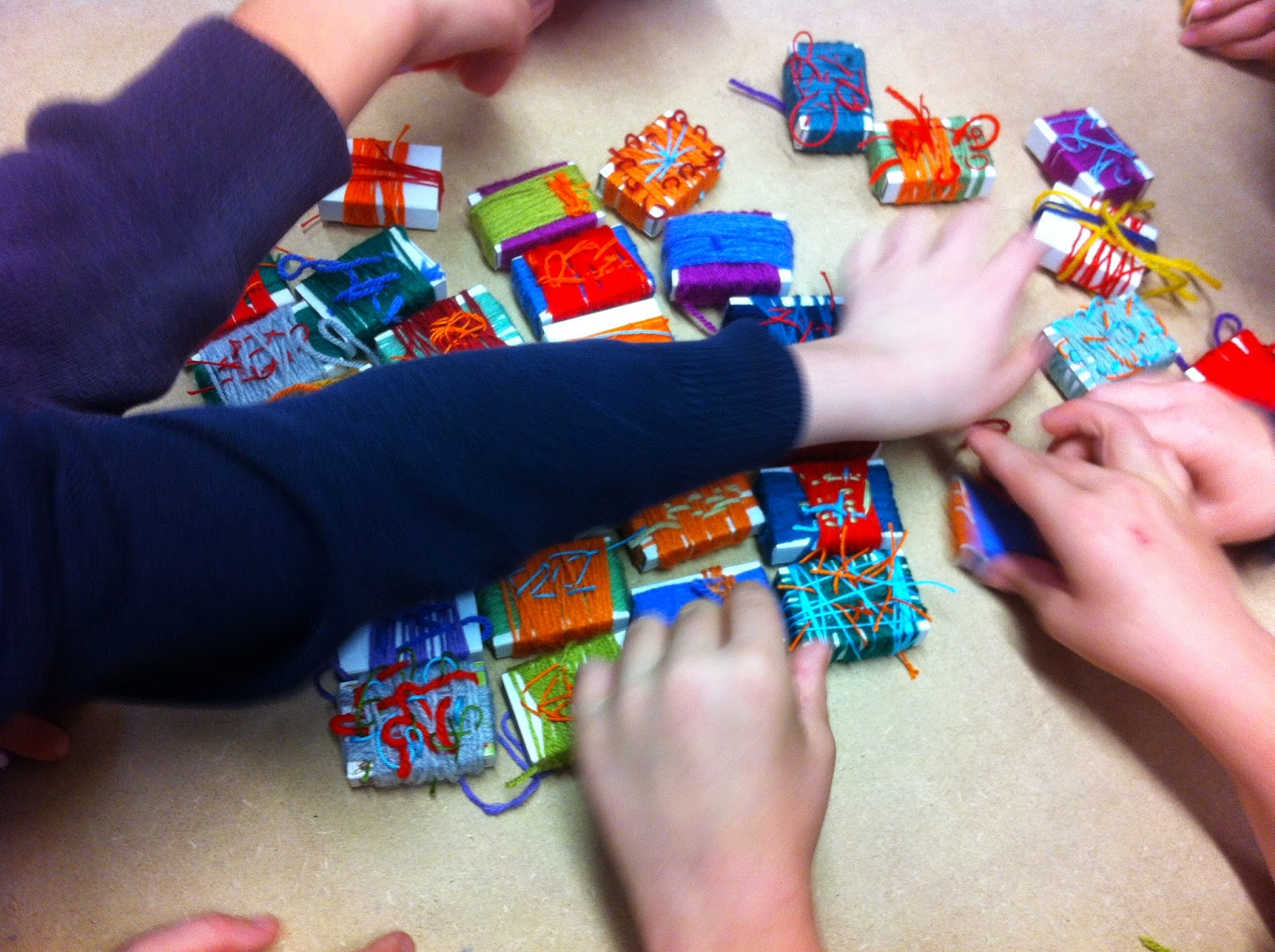 Matchbox wrapping textile project Years 1 - 4 ... the first ones finished!
