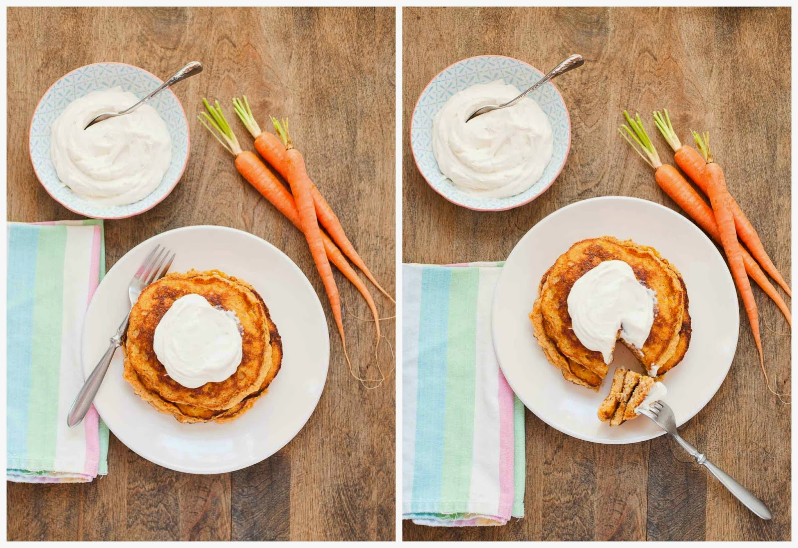 Paleo Carrot Cake Pancakes with Maple Whipped Cream Cheese | acalculatedwhisk.com