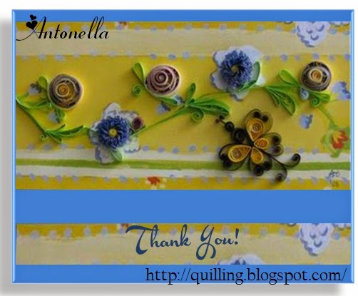 Quilled Thank You card with reverse roses, fringed flowers, and butterfly from Antonella at www.quilling.blogspot.com