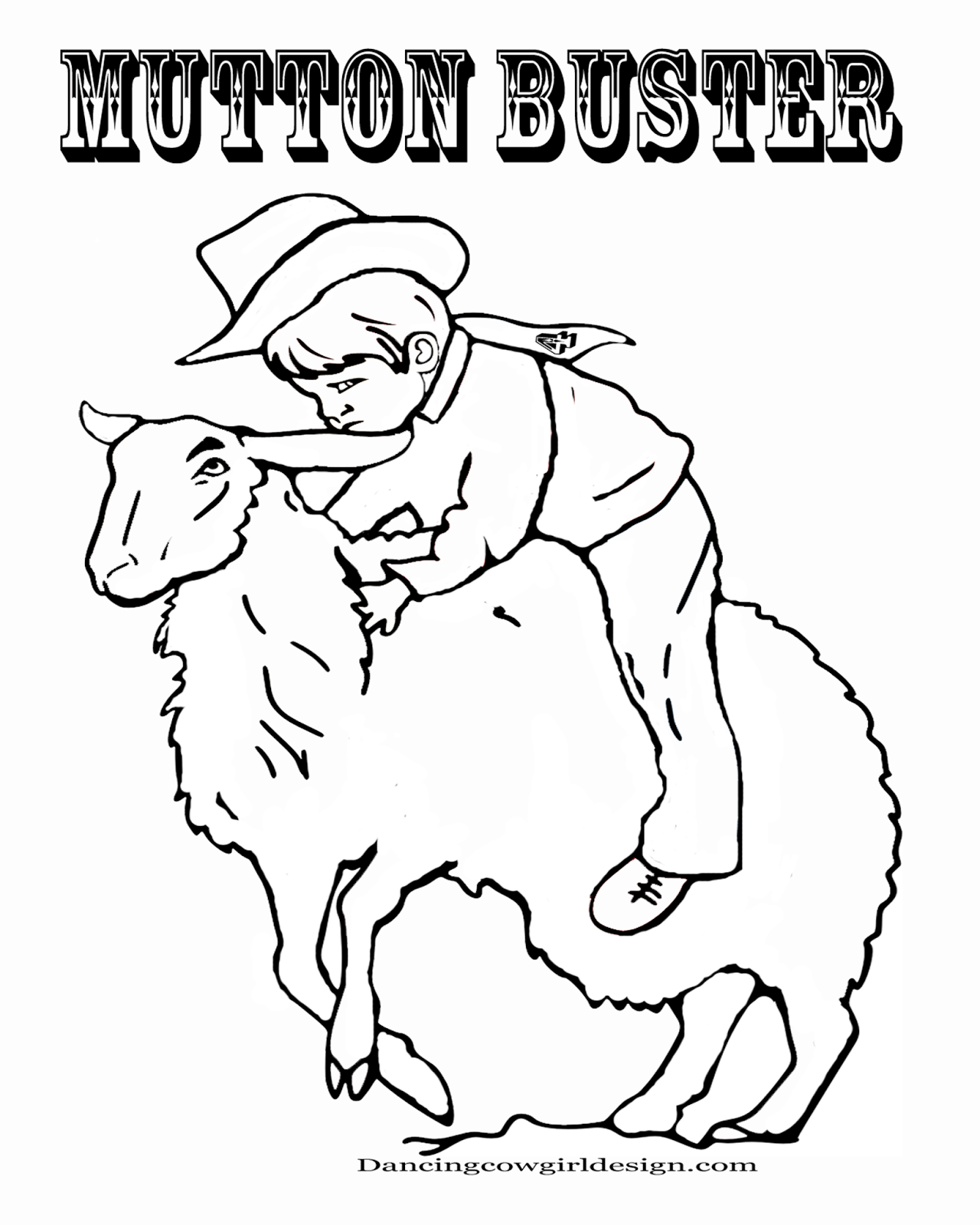 RODEO COLORING PAGES: Cowboy Coloring Sheet Kid Mutton Bustin\'