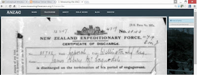 Sample ANZAC Certificate of Discharge