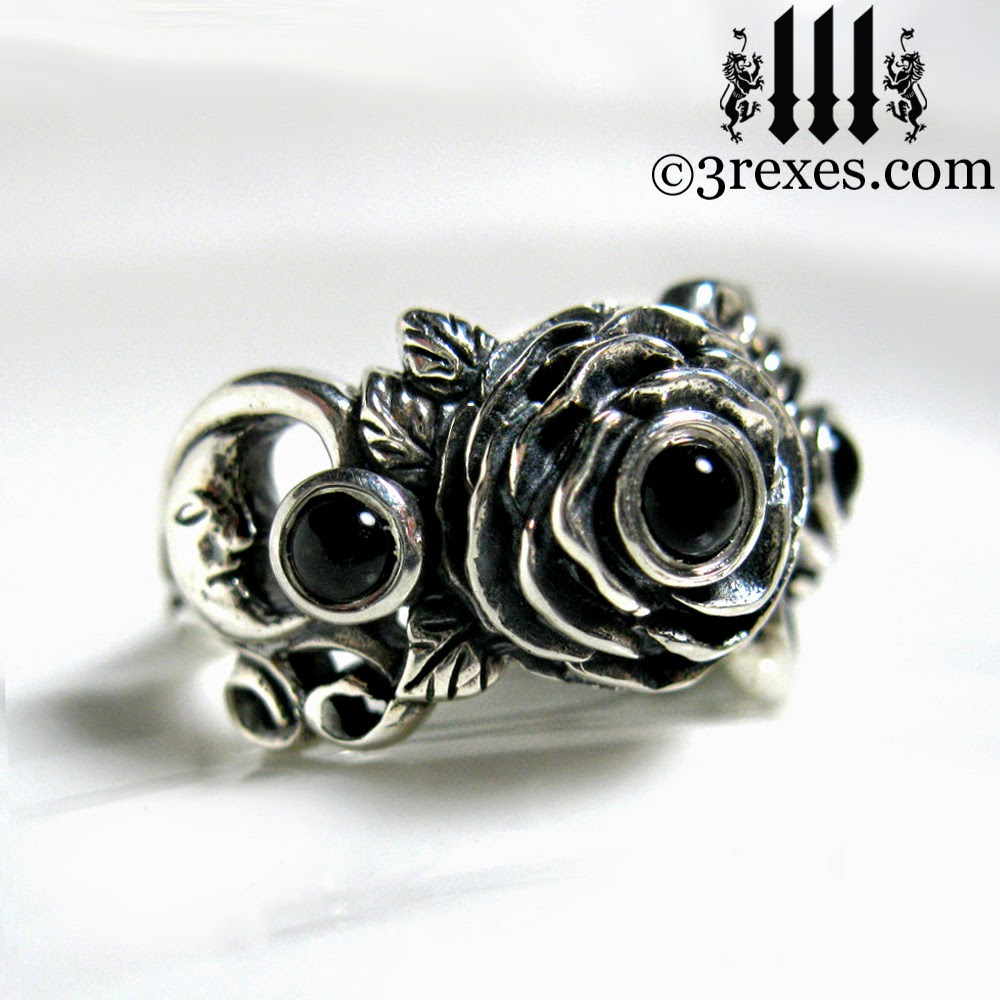 rose moon spider gothic ring with black onyx