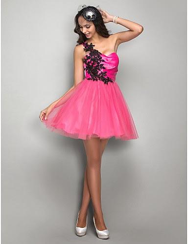 gaun pesta modern pendek pink