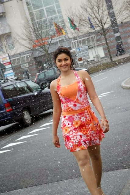 Poonam Bajwa in Orange Colour Dress