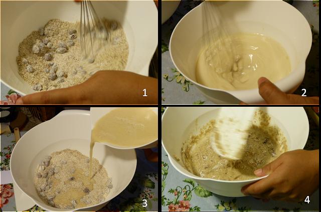 Mezclamos bien los ingredientes húmedos y salados por separado y juntamos