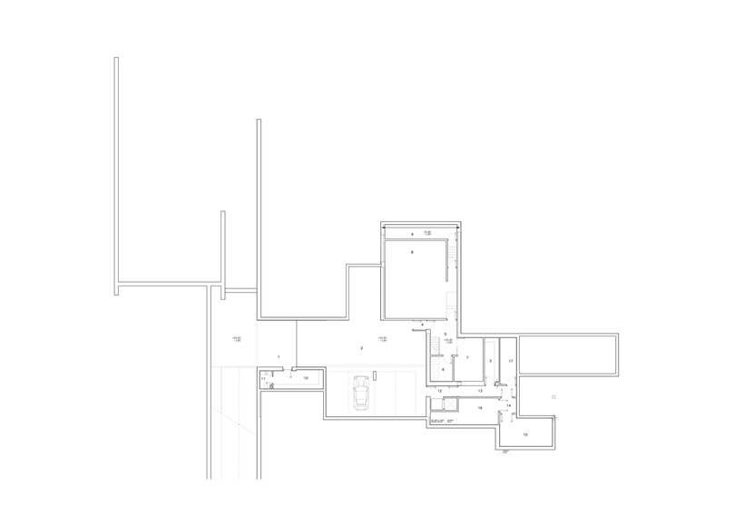 Basement floor plan of Ultra Modern Concrete House by A-cero Architects