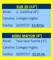Próximos partidos de las categorías del AEBU