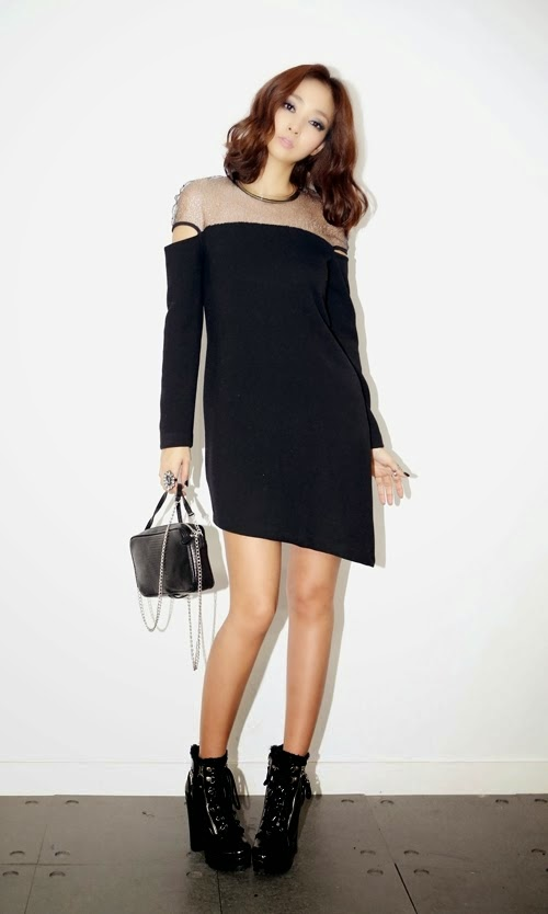 Sheer Neck Long Sleeve Dress by Aura-J