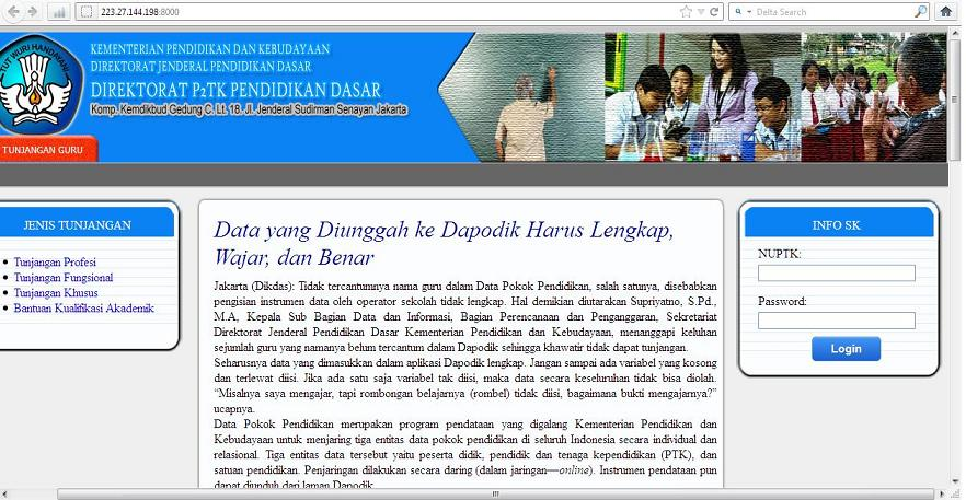 tampilan link websitenya