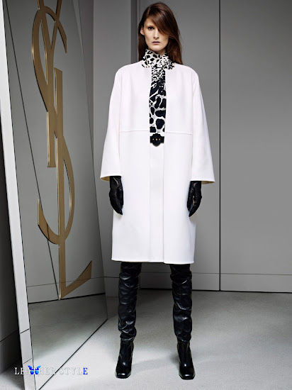 fashion, designer, Yves Saint Laurent, collection, photos, look book, leather, models, over-the-knee boots, leather gloves