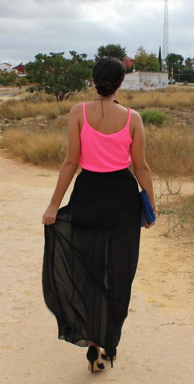 Falda de gasa plisada