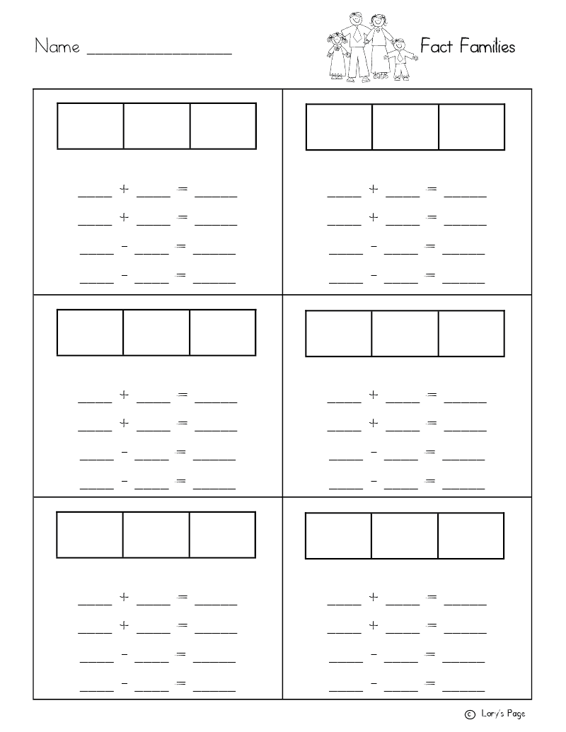 Lorys 2nd Grade Skills Fact Family Freebie – Fact Families Worksheets