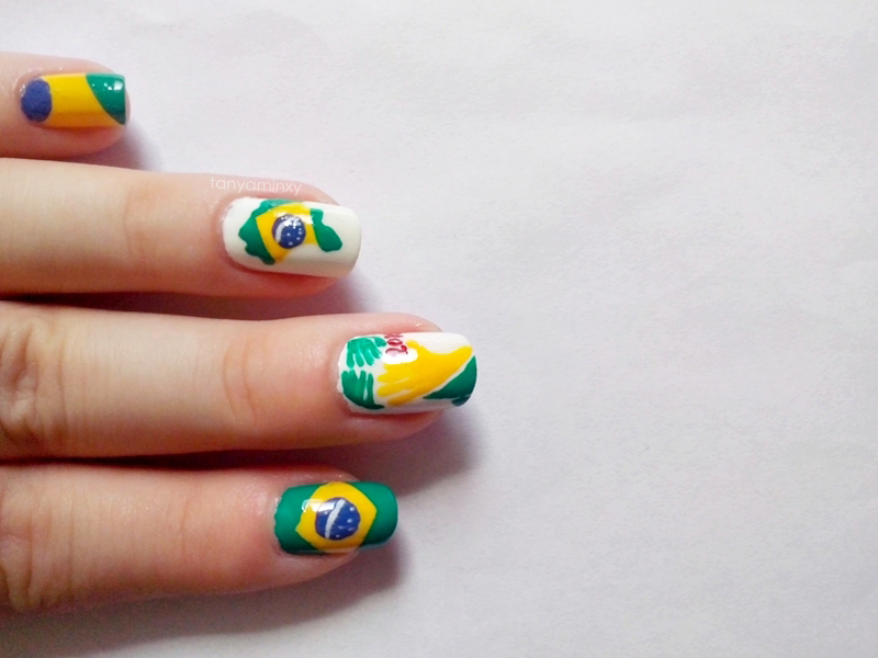 tanyaminxy 31DC2014 Day 28: Inspired By A FLAG - Brasil 2014 FIFA World Cup Brazil Nails