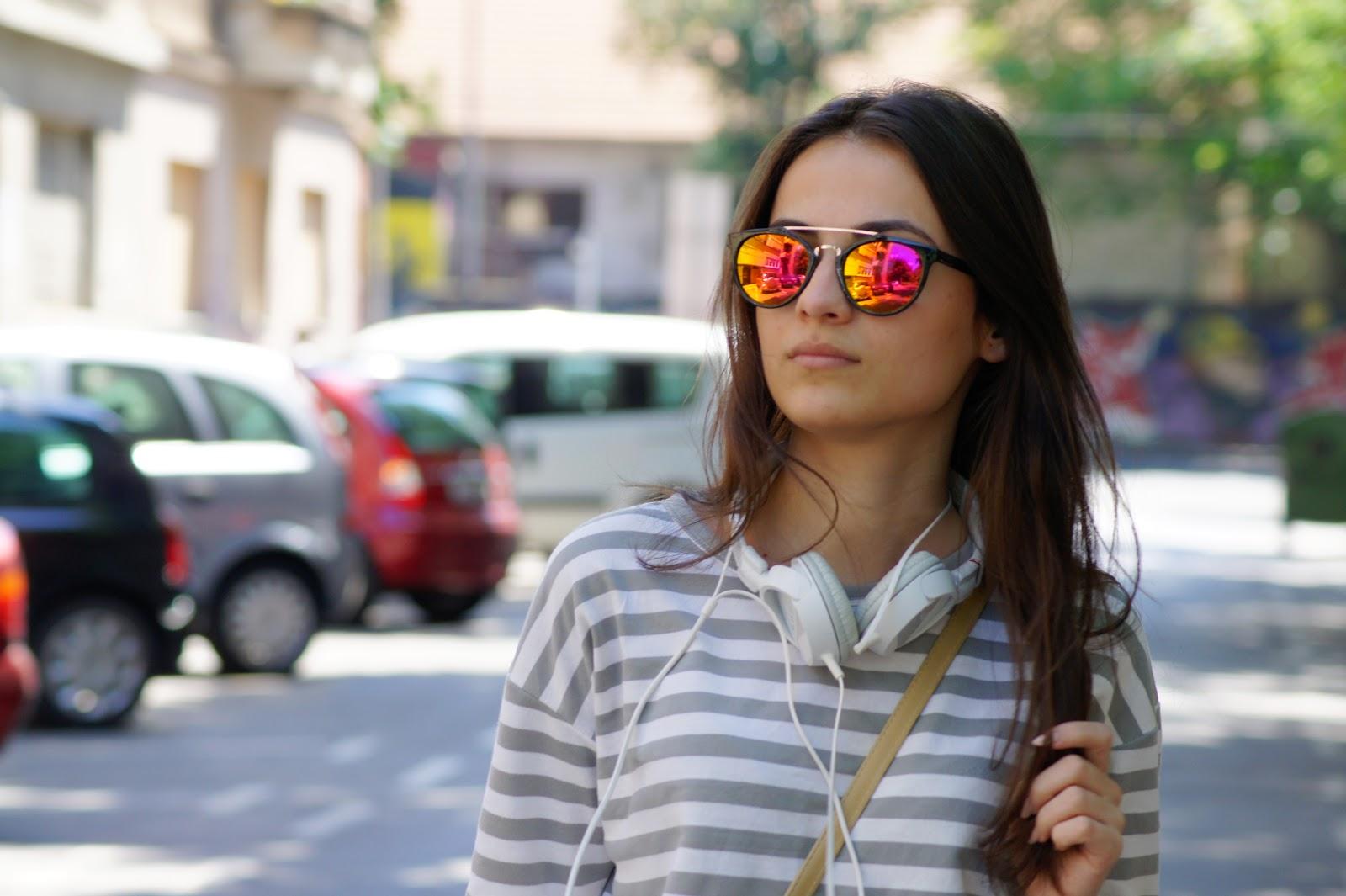 Fashiondose Blogspot & Emblem Eyewear Vintage Inspired Dapper Cross Bar Wayfarer Flash Revo Lens Sunglasses