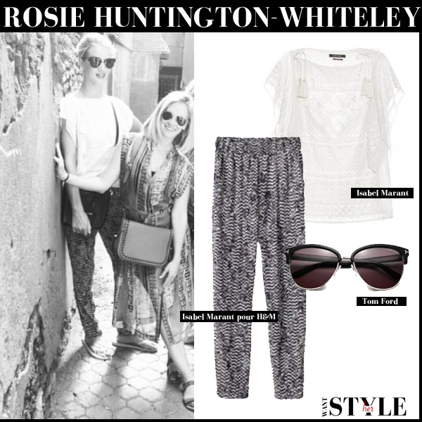 Rosie Huntington-Whiteley in white embroidered isabel marant allen top and print pants and tom ford fany sunglasses streetstyle september 2 2015