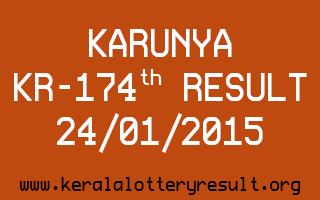 KARUNYA Lottery KR-174 Result 24-01-2015