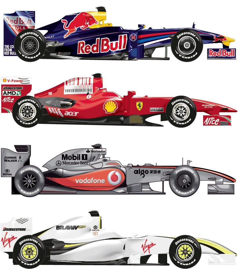 精巧なフォーミュラーカー デザイン Formula 1 Cars イラスト素材
