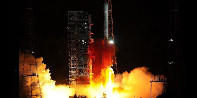 "A Long March-3B carrier rocket is launched in Xichang, southwest China's Sichuan Province, May 2, 2013. China successfully sent a communications satellite, ""Zhongxing-11"", into orbit with a Long March-3B carrier rocket launched from the Xichang Satellite Launch Center on Thursday. (Xinhua/Han Yuqing)"