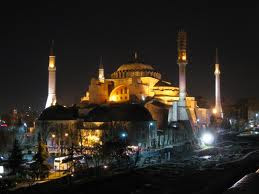 The Hagia Sophia outside at night
